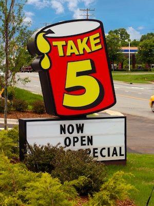 Take 5 roadside sign