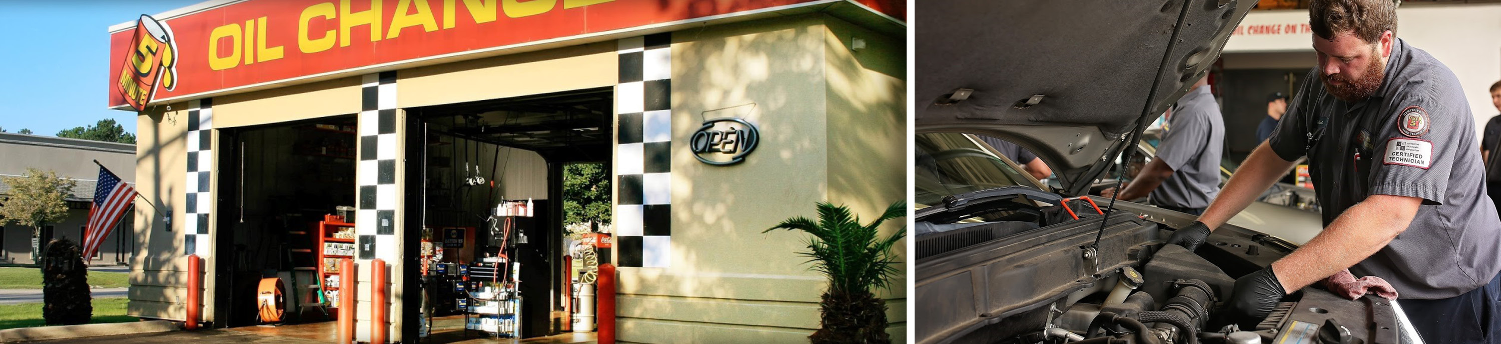 Left: exterior of Take5 location; right: tech changing air filter.