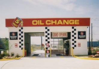 Oil change bays in 1984